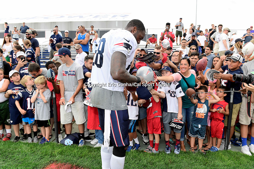 Monday, August 8, 2016: New England Patriots tight end Martellus Bennett (88) signs autographs for fans at a joint training camp session between the Chicago Bears and the New England Patriots held at Gillette Stadium in Foxborough Massachusetts. Eric Canha/CSM