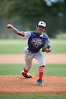 Miles Garrett (7) during the WWBA World Championship at the Roger Dean Complex on October 10, 2019 in Jupiter, Florida.  Miles Garrett attends Parkview High School in Stone Mountain, GA and is committed to Vanderbilt.  (Mike Janes/Four Seam Images)
