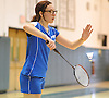 Mia Froccaro of Port Washington serves during the Nassau County varsity girls badminton doubles final at Bellmore JFK High School on Saturday, May 14, 2016. She and doubles partner Megan Maley finished as runners up to Rachel Polansky and Stephanie Tavel of East Meadow.