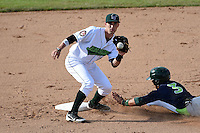 Jamestown Jammers second baseman Erik Forgione (25) waits for a throw on a stolen base by Joe Bennie (3) sliding in during a game against the Vermont Lake Monsters on July 13, 2014 at Russell Diethrick Park in Jamestown, New York.  Jamestown defeated Vermont 6-2.  (Mike Janes/Four Seam Images)