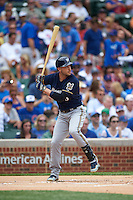 Milwaukee Brewers outfielder Ryan Braun (8) at bat during a game against the Chicago Cubs on August 13, 2015 at Wrigley Field in Chicago, Illinois.  Chicago defeated Milwaukee 9-2.  (Mike Janes/Four Seam Images)