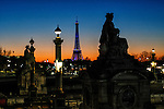 View of the Place de la Concorde and the Eiffel Tower, just after sunset