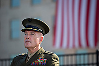 General Joseph Dunford, Chairman of the Joint Chiefs of Staff, listens during a ceremony to commemorate the September 11, 2001 terrorist attacks with U.S. President Donald Trump, not pictured, at the Pentagon in Washington, D.C., U.S., on Monday, Sept. 11, 2017. Trump is presiding over his first 9/11 commemoration on the 16th anniversary of the terrorist attacks that killed nearly 3,000 people when hijackers flew commercial airplanes into New York's World Trade Center, the Pentagon and a field near Shanksville, Pennsylvania. <br /> CAP/MPI/CNP/RS<br /> &copy;RS/CNP/MPI/Capital Pictures