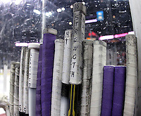 Tyler Elbrecht's stick stands above the rest on the Minnesota State-Mankato bench. (Photo by Michelle Bishop)