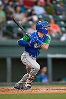 Center fielder Kyle Isbel (6) of the Lexington Legends follows through on a swing during a game against the Greenville Drive on Sunday, September 2, 2018, at Fluor Field at the West End in Greenville, South Carolina. Greenville won, 7-4. (Tom Priddy/Four Seam Images)