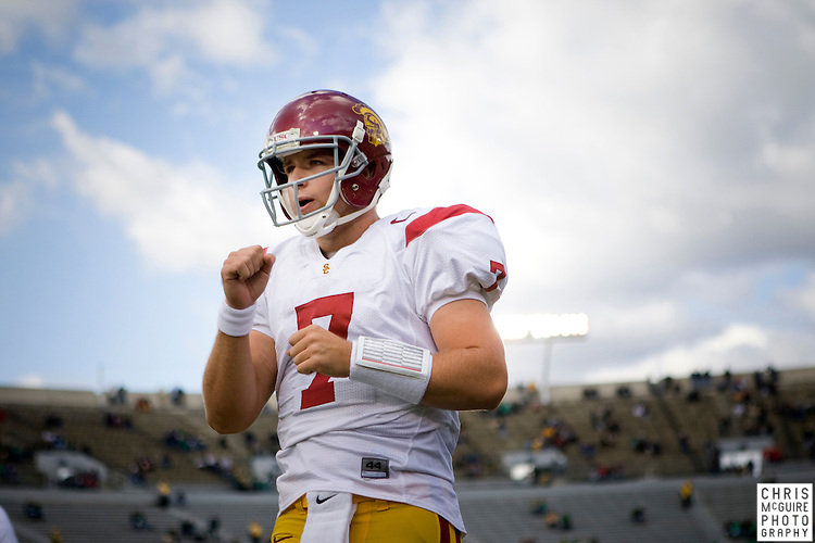 10/17/09 - South Bend, IN:  USC quarterback Matt Barkley warms up for USC's game againt Notre Dame at Notre Dame Stadium on Saturday.  USC won the game 34-27 to extend its win streak over Notre Dame to 8 games.  Photo by Christopher McGuire.