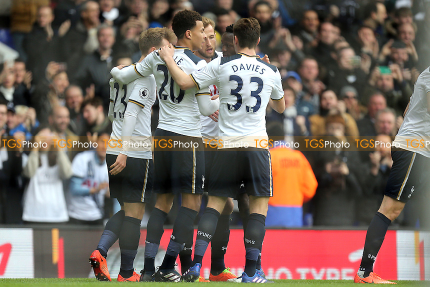 Harry Kane of Tottenham Hotspur is congratulated after scoring the opening goal during Tottenham Hotspur vs Stoke City, Premier League Football at White Hart Lane on 26th February 2017