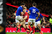 Charles Ollivon of France is tackled by George North of Wales during the Guinness Six Nations Championship Round 3 match between Wales and France at the Principality Stadium in Cardiff, Wales, UK. Saturday 22 February 2020