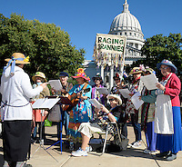 The Raging Grannies entertain visitors to the Dane County Farmer's Market on Saturday, September 12, 2015, in Madison, Wisconsin