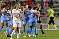 Chicago, IL - Wednesday Sept. 07, 2016: Christen Press celebrates scoring, Vanessa DiBernardo during a regular season National Women's Soccer League (NWSL) match between the Chicago Red Stars and FC Kansas City at Toyota Park.