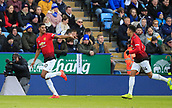 3rd February 2019, King Power Stadium, Leicester, England; EPL Premier League Football, Leicester City versus Manchester United; Marcus Rashford of Manchester United turns to celebrate the opening goal in the 9th minute