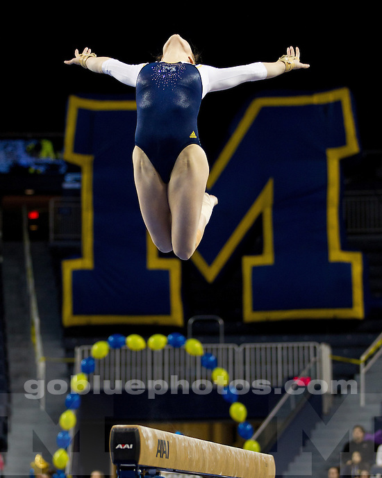 The University of Michigan women's gymnastics team defeated Ohio State, 195.500-195.175, at Crisler Arena in Ann Arbor, Mich., on January 13, 2011.