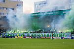 Stockholm 2013-06-23 Fotboll Superettan , Hammarby IF - &Auml;ngelholms FF :  <br /> Hammarby Bajen fans tifo med bengaliska eldar och banderoll med texten &quot;L&auml;nge leve S&ouml;derstadion&quot; under sista matchen p&aring; S&ouml;derstadion<br /> (Foto: Kenta J&ouml;nsson) Nyckelord:  supporter fans publik supporters bengaler banderoll