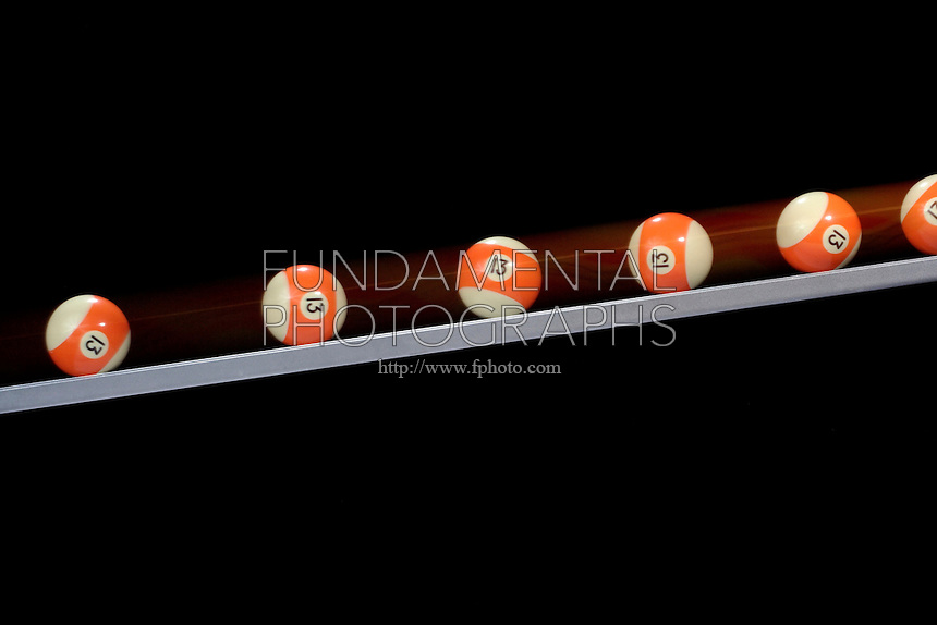 UNIFORM MOTION - ROLLING BILLIARD BALL<br /> Constant Acceleration Caused By Force of Gravity<br /> (Variations Available)<br /> The ball on a slanted track accelerates uniformly: it picks up equal amounts of speed in equal time intervals.