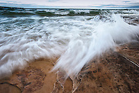 Stormy Lake Superior beach at Pictured Rocks National Lakeshore near Munising Michigan in Michigan's Upper Peninsula.