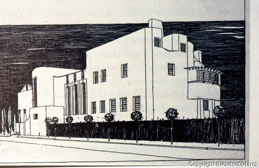 "C.R. Mackintosh: ""House of an Art-Lover"". Perspective of Street Side, 1901. (Josef Hoffmann, Palais Stoclet, Origins: from 'Eovard  F. Seler, JOSEF HOFFMAN, Princeton 1985.)"