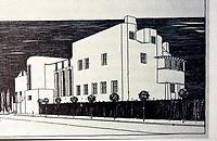 "C.R. Mackintosh: ""House of an Art-Lover"". Perspective of Street Side, 1901. (Josef Hoffmann, Palais Stoclet, Origins: from 'Eovard  F. Seler, JOSEF HOFFMAN, Princeton 1985.)"