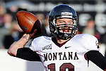 Nov 8, 2014; Cheney, WA, USA; Montana Grizzlies quarterback Jordan Johnson (10) throws a pass against the Eastern Washington Eagles during the second half at Roos Field. Eagles won 36-26. Mandatory Credit: James Snook-USA TODAY Sports