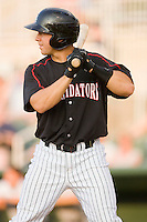 Kevin Dubler #35 of the Kannapolis Intimidators at bat against the Charleston RiverDogs at Fieldcrest Cannon Stadium May 29, 2010, in Kannapolis, North Carolina.  Photo by Brian Westerholt / Four Seam Images