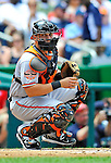 20 May 2012: Baltimore Orioles catcher Luis Exposito in action against the Washington Nationals at Nationals Park in Washington, DC. The Nationals defeated the Orioles 9-3 to salvage the third game of their 3-game series. Mandatory Credit: Ed Wolfstein Photo