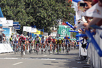 CALI - COLOMBIA - 13-06-2013: Rafael Montiel (Cent.) del equipo Aguardiente Antioqueño celebra victoria en Cali, junio 13 de 2013. Montiel, gano la quinta etapa entre Popayan y Cali de la 63 vuelta a Colombia en Bicicleta. (Foto: VizzorImage / Juan C Quintero / Str.) Rafael Montiel (C) from Aguardiente Antioqueño team celebrates victory in Cali, June 13, 2013. Montiel won the fifth stage between Popayan and Cali of Tour of Colombia 63. (Photo: VizzorImage / Juan C Quintero / Str)