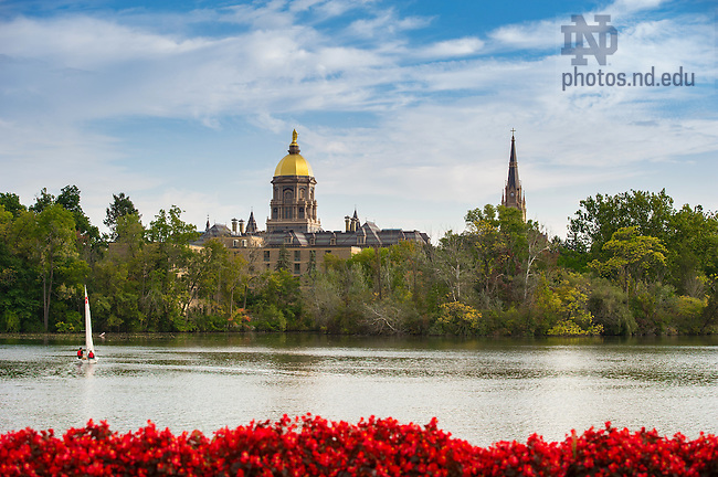 October 4, 2016; St. Joseph Lake with the Main Building and Golden Dome in background.  (Photo by Barbara Johnston/University of Notre Dame)