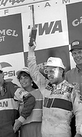 Price Cobb gets celebrates in victory lane after driving his Castrol Racing Jaguar XJR-10 to victory in the IMSA GTP/Lights race at the Florida State Fairgrounds in Tampa, FL, October 1, 1989.  (Photo by Brian Cleary/www.bcpix.com)