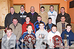CUPS: Cups and trophies were on show by players from the Ardfert Minors, St Brendans Minor and Senior Footballers and Hurlers on Saturday night at Ardfert Community Centre. Front kneeling l-r: Thomas Moloney (County Minor Captain 2006), Cian Hussey (Under 10 Capt 2005), David Griffin (Under 12 North Kerry Captain 2005), Aoife Fitzgerald (Player) and Fionan Horgan (Under 11 Captain 2006). Seated l-r: Jeremiah Clifford (Club Secretary), Tim Hannafin (Kerry Minor Captain 2006), John Egan (Senior St Brendans Player), Justin Horgan (Under 16 Minor Player) and Sean Ryan (Chairman of Ardfert and St Brendans Club). Back l-r: Gerard Hannafin (Vice Chairman), Stephen Leen (Under 15 Captain), Maurice Leahy (Trainer), Rory Horgan (Kerry Minor), Darren Dineen (Kerry Hurler) and Gerard Hussey (Chairman St Brendan's Bord Na nOg)..