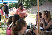 Cherena Walker, Associate Vice President and Executive Director Hameetman Career Center. Matriculation Brunch Appointments for incoming first-years at the start of Occidental College's Fall Orientation for the class of 2021, Aug. 28, 2017. Students meet President Jonathan Veitch and other senior administrators in small groups over an informal meal in Mitchell Garden. They also add their wishes to the wishing tree.<br />