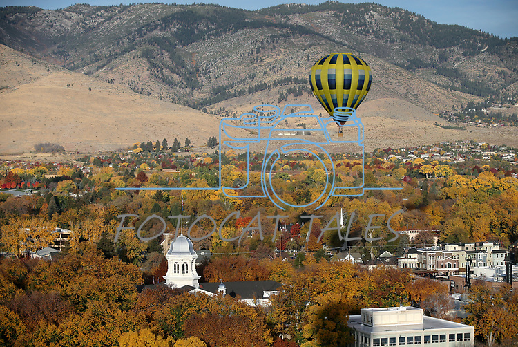 Hot air balloons rise over downtown to kick off Nevada Day events in Carson City, Nev., on Saturday, Oct. 27, 2018. <br /> Photo by Cathleen Allison/Nevada Momentum