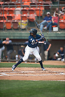 Helena Brewers second baseman Yeison Coca (2) at bat during a Pioneer League game against the Grand Junction Rockies at Kindrick Legion Field on August 19, 2018 in Helena, Montana. The Grand Junction Rockies defeated the Helena Brewers by a score of 6-1. (Zachary Lucy/Four Seam Images)