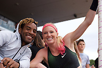 Sandi Morris of United States with boyfriend Tyrone Smith after competing in the Women's Pole Vault during the Muller Grand Prix  IAAF Diamond League meeting at Alexander Stadium, Perry Barr, Birmingham.<br /> Picture by Alan Stanford +44 7915 056117<br /> 18/08/2018