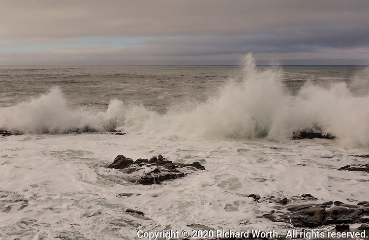 Powerful waves crash into the rocky shoreline at Bean Hollow Sate Beach along the California coast on an overcast winter morning.
