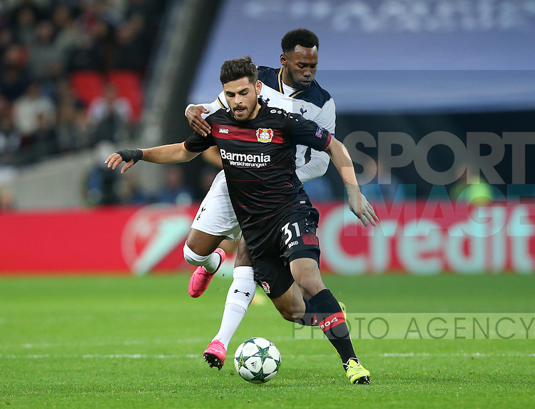 Tottenham's Georges-Kevin N'Koudou tussles with Leverksen's Kevin Volland during the Champions League group E match at the Wembley Stadium, London. Picture date November 2nd, 2016 Pic David Klein/Sportimage