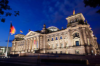 Twilight view of the Reichstag, the restored German Parliament which once again became the seat of the German government in 1991 after the reunification of East and West Germany..