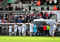 Pictured: (L-R) Wayne Routledge, Ashley Williams, Nathan Dyer, Ben Davies, Chico Flores, Michel Vorm, Angel Rangel.<br /> Saturday 04 May 2013<br /> Re: Barclay's Premier League, Swansea City FC v Manchester City at the Liberty Stadium, south Wales.