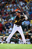 Pittsburgh Pirates outfielder Andrew Lambo (15) during a Spring Training game against the Boston Red Sox on March 12, 2015 at McKechnie Field in Bradenton, Florida.  Boston defeated Pittsburgh 5-1.  (Mike Janes/Four Seam Images)