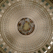 """Nighttime view of the interior of the Dome of the United States Capitol on Thursday, December 16, 2010.  The fresco in the center of the dome is the """"Apotheosis of Washington"""". It was completed by Constantino Brumidi in 1865.Credit: Ron Sachs / CNP"""