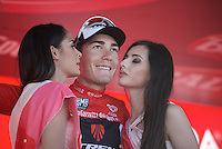 podium kisses for the new red jersey: Giacomo Nizzolo (ITA/Trek Factory Racing)<br /> <br /> stage 17: Tirano - Lugano (SUI) (134km)<br /> 2015 Giro d'Italia