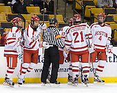 Chris Connolly (BU - 12), Alex Chiasson (BU - 9), Tim Benedetto, Matt Nieto (BU - 17), Sean Escobedo (BU - 21), Patrick MacGregor (BU - 4) - The Boston University Terriers defeated the Harvard University Crimson 3-1 in the opening round of the 2012 Beanpot on Monday, February 6, 2012, at TD Garden in Boston, Massachusetts.