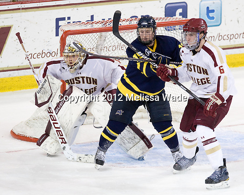 Brian Billett (BC - 1), Rhett Bly (Merrimack - 19), Patrick Wey (BC - 6) - The visiting Merrimack College Warriors tied the Boston College Eagles at 2 on Sunday, January 8, 2011, at Kelley Rink/Conte Forum in Chestnut Hill, Massachusetts.