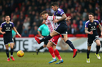 Matthew Godden of Stevenage and Alan Sheehan of Luton Town during Stevenage vs Luton Town, Sky Bet EFL League 2 Football at the Lamex Stadium on 10th February 2018