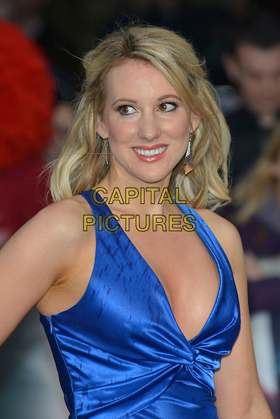 Rebecca Ferdinando<br /> 'Man Of Steel' UK film premiere, Empire cinema, Leicester Square, London, England. <br /> 12th June 2013<br /> half length blue cleavage silk satin low cut neckline <br /> CAP/PL<br /> &copy;Phil Loftus/Capital Pictures