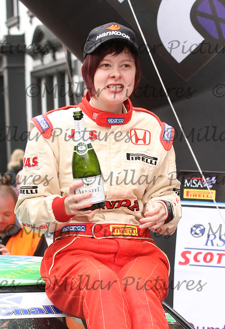 Laura Marshall at the Finish of the Scottish Rally 2013, Round 3 of the MSA British Rally Championship, Round 5 of the RAC MSA Scottish Rally Championship sponsored by ARR Craib Transport Limited and Round 7 of the Motoscope Northern Historic Rally Championship which was organised by the Royal Scottish Automobile Club and based at Dumfries on 29.6.13.