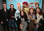 """Jamie Glickman, Jason Jacoby and Matt Dengler with Avenue Q & Puppetry Fans during """"Avenue Q"""" Celebrates World Puppetry Day at The New World Stages on 3/21/2019 in New York City."""