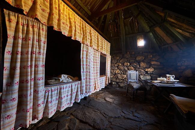Original bedroom interior with original box-beds of The Blackhouse, 24 Arnol, Bragar, Isle of Lewis, Scotland.