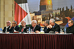 Palestinian President Mahmoud Abbas, speaks during a press conference after the Palestinian leadership meets, in the West Bank city of Ramallah, on January 28, 2020. Photo by Thaer Ganaim