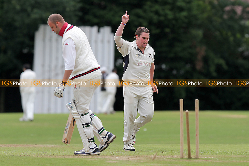 Upminster bowler Alan Ison claims his first wicket - Gidea Park & Romford CC (batting) vs Upminster CC - Essex Cricket League Dukes Twenty20 Competition - 18/06/11 - MANDATORY CREDIT: Gavin Ellis/TGSPHOTO - Self billing applies where appropriate - Tel: 0845 094 6026