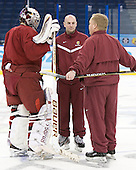 Taylor Nelson (FSU - 29), Dave Cencer (FSU - Strength/Cond/Video Coach), Bob Daniels (FSU - Head Coach) - The Ferris State University Bulldogs practiced on Friday, April 6, 2012, during the 2012 Frozen Four at the Tampa Bay Times Forum in Tampa, Florida.