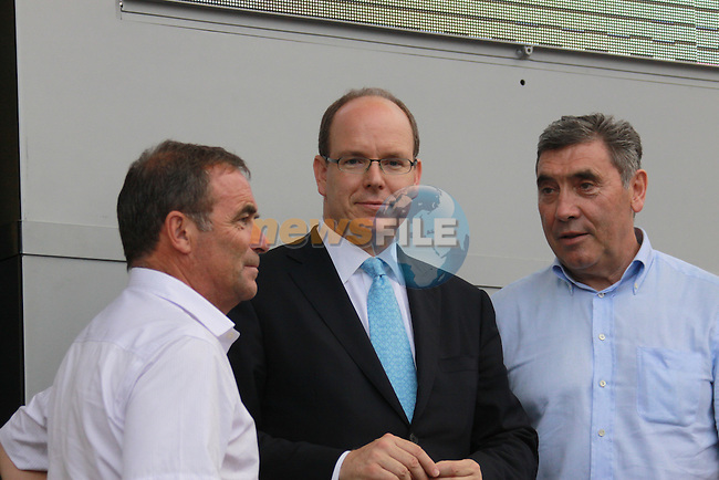 Prince Albert with five time winners Merkyx and Hinault at the first stage prologue in the 2009 Tour de France, 4th July 2009 (Photo by Manus OReilly/NEWSFILE)